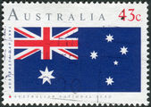 AUSTRALIA - CIRCA 1991: Postage stamp printed in Australia, is dedicated to Australia Day, depicts National flag, circa 1991 — Stock Photo