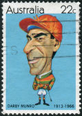 AUSTRALIA - CIRCA 1981: Postage stamp printed in Australia, shows Australian sportsmen (Caricatures by Tony Rafty): Jockey Darby Munro, circa 1981 — Foto de Stock