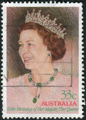 AUSTRALIA - CIRCA 1986: Postage stamp printed in Australia, dedicated to 60th Birthday Queen Elizabeth II, shows a portrait, circa 1986 — Stock Photo