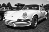"""PAAREN IM GLIEN, GERMANY - MAY 19: Sports car Porsche 911 Carrera RS (black and white), """"The oldtimer show"""" in MAFZ, May 19, 2013 in Paaren im Glien, Germany — Stock Photo"""