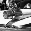Постер, плакат: PAAREN IM GLIEN GERMANY MAY 19: The rear brake lights Full size car Plymouth Fury 1961 black and white The oldtimer show in MAFZ May 19 2013 in Paaren im Glien Germany