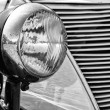 Stock Photo: Headlamp car Ford Eifel, (black and white)