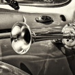 Vehicle horn car Volkswagen Beetle, (sepia) — Stock Photo #40950583