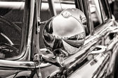 Detail Full-size car Pontiac Star Chief (black and white) — Stock Photo