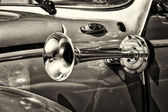 Vehicle horn car Volkswagen Beetle, (sepia) — Stock Photo
