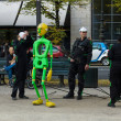 Stock Photo: Performance of street artists on Unter den Linden. Day of GermUnity is national day of Germany