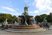 The Neptune Fountain in Berlin was built in 1891 and was designed by Reinhold Begas — Stock Photo