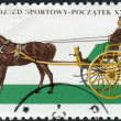 Stock Photo: Postage stamp printed in Poland, shows Gig (carriage), light, two-wheeled sprung cart pulled by one horse