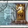 Stock Photo: Postage stamp printed in Hungary, shows Statue of Zeus in Olympia, by Pheidias
