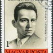Stock Photo: Postage stamp printed in Hungary, portrait Schnoeherz Zoltan, anti-fascist martyr