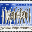 Stock Photo: Postage stamp printed in Hungary, dedicated to 25th anniversary of Liberation of concentration camps, shows monument in Mauthausen-Gusen concentration camp