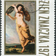 Stock Photo: Postage stamp printed in Poland, shows oil painting Summer Rain, by Wojciech Gerson