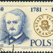 Postage stamp printed in Poland, dedicated to the 200th anniversary of the Old Theatre in Krakow, shows the Polish writer, theater director Stanislaw Kozmian — Stock Photo