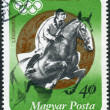 Stock Photo: Postage stamp printed in Hungary, devoted to Summer Olympic Games, in 1972, shows Andras Balczo is Hungarimodern pentathlete and Olympic champion