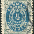 DENMARK - CIRCA 1875: Postage stamp printed in Denmark, shows the number (value) in the frame, circa 1875 — Stock Photo