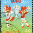 Stock Photo: AUSTRI- CIRC2008: Postage stamp printed in Austria, shows official symbols of EuropeFootball Championship (UefEuro 2008) Trix and Flix, circ2008
