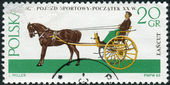 Postage stamp printed in Poland, shows Gig (carriage), a light, two-wheeled sprung cart pulled by one horse — Stock Photo