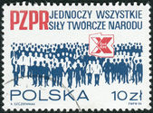 Postage stamp printed in Poland, dedicated to the 10th anniversary of Polish United Worker's Party — Стоковое фото