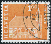 SWITZERLAND - CIRCA 1960: Postage stamp printed in Switzerland, shows the town hall in Fribourg, circa 1960 — Stock Photo