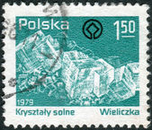 POLAND - CIRCA 1979: Postage stamp printed in Poland devoted Wieliczka ancient rock-salt mines, shown salt crystals, circa 1979 — Stock Photo