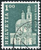 SWITZERLAND - CIRCA 1968: Postage stamp printed in Switzerland, shows Santa Croce Church, Riva San Vitale, circa 1968 — Stock Photo