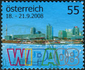 AUSTRIA - CIRCA 2008: Postage stamp printed in Austria, dedicated to Vienna International Stamps Exhibition (WIPA), circa 2008 — Zdjęcie stockowe