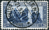 ITALY - CIRCA 1926: Postage stamp printed in Italy, dedicated to the 600th anniversary of the death of St. Francis of Assisi, circa 1926 — Foto de Stock