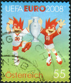 AUSTRIA - CIRCA 2008: Postage stamp printed in Austria, shows the official symbols of the European Football Championship (Uefa Euro 2008) Trix and Flix, circa 2008 — Stockfoto