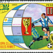 Stock Photo: Postage stamp printed in Equatorial Guinea, is dedicated to Football World Cup 1974, Germany, shows final 1930 in Montevideo