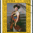 Stock Photo: Postage stamp printed in Cuba, devoted to 170 anniversary of SAlejandro Academy of Fine Arts, HavanPaintin, shows ElenHerrerby Armando Menocal