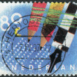 """Postage stamp printed in the Netherlands, a series of """"Ten for your letters"""" shows a pencil and a fountain pen — Stock Photo #42135281"""