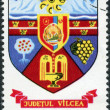 Stock Photo: Postage stamp printed in Romania, shows Arms of Romanicounties - Vilcea