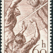 Postage stamp printed in Czechoslovakia, shows a game of volleyball — Stock Photo