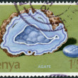 Stock Photo: Postage stamp printed in Kenya, shows natural mineral agate