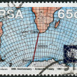 Stock Photo: Postage stamp printed in South Africa, devoted to 30th anniversary of Antarctic Treaty, shows Weather Maps searebetween South Africand Antarctica