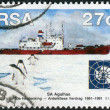 Stock Photo: Postage stamp printed in South Africa, devoted to 30th anniversary of Antarctic Treaty, shows ice-strengthened training ship and former polar research vessel S.A. Agulhas