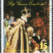 Stock Photo: Postage stamp printed in Equatorial Guinea, devoted to 25th anniversary of coronation of Elizabeth II, shows Queen Elizabeth II at public occasion