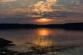 Bright sunset on the lake. — Stock Photo