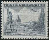 Postage stamp printed in Czechoslovakia shows Prague - Charles Bridg, statue of St. Luitgard by Matthias Braun and Prague Castle — Stock Photo