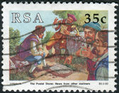 Postage stamp printed in South Africa, devoted to Stamp day, shows Post stone - Letters for Europe or India — Stock Photo