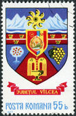 Postage stamp printed in Romania, shows Arms of Romanian counties - Vilcea — Stock Photo