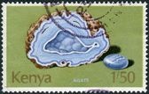 Postage stamp printed in Kenya, shows the natural mineral agate — Stock Photo