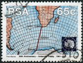 Postage stamp printed in South Africa, devoted to 30th anniversary of Antarctic Treaty, shows Weather Maps sea area between South Africa and Antarctica — Stock Photo