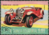 Postage stamp printed in Equatorial Guinea, shows oldtimer Delage D8-85 — Stock Photo