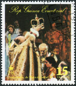 Postage stamp printed in Equatorial Guinea, devoted to the 25th anniversary of the coronation of Elizabeth II, shows Queen Elizabeth II at a public occasion — Stock Photo