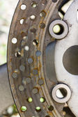 Detail of the front brake disc motorcycle. — Stock Photo
