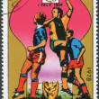 Stock Photo: Postage stamp printed in North Korea, dedicated to World Cup Football, shows FIFWorld Cup in Italy 1934