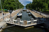 Gateway to Vaaksy Canal - an important transportation channel that connects Lake Vesijarvi and largest lake Paijanne — Stock Photo