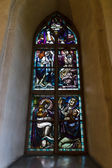 Stained glass windows by Lennart Segerstrale, 1929. Old medieval stone church of St. Mary in Hollola — Stock Photo