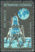 "Postage stamp printed in Vietnam shows Moon flight of ""Luna 16"" — Stock fotografie"
